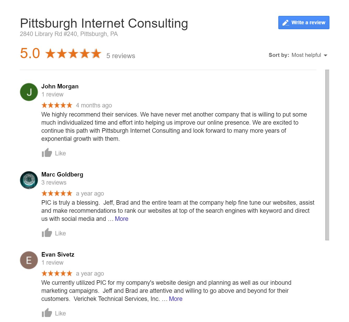 How Pittsburgh Reviews affect Search Results